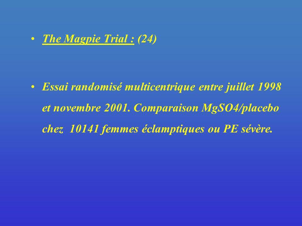 The Magpie Trial : (24) Essai randomisé multicentrique entre juillet 1998 et novembre 2001. Comparaison MgSO4/placebo chez 10141 femmes éclamptiques o