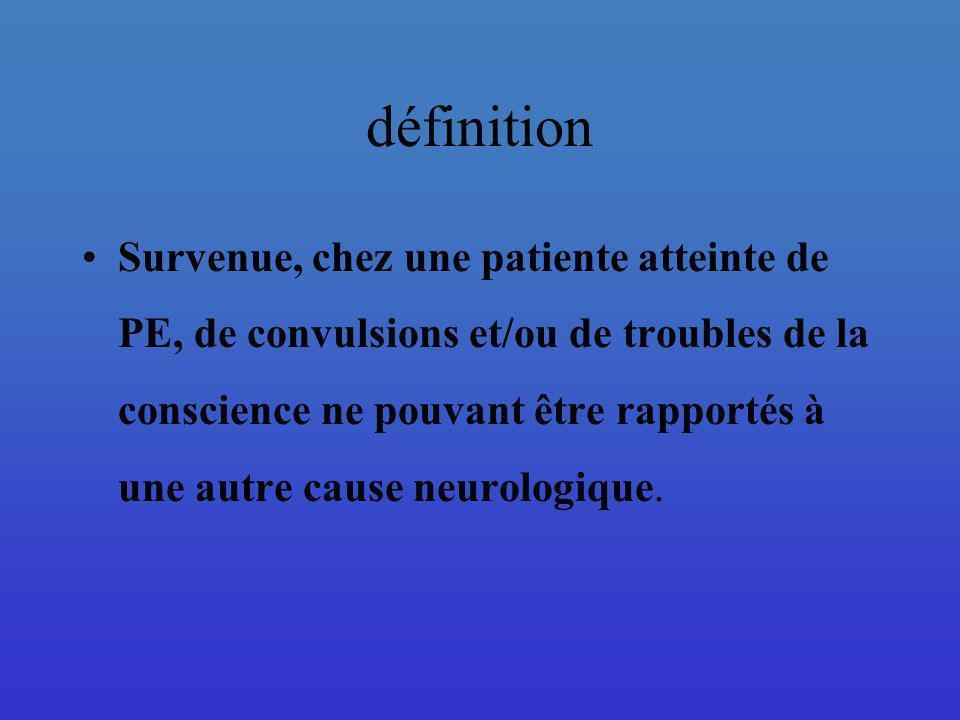 définition Survenue, chez une patiente atteinte de PE, de convulsions et/ou de troubles de la conscience ne pouvant être rapportés à une autre cause n