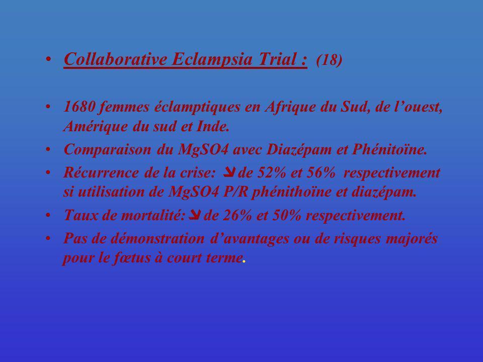 Collaborative Eclampsia Trial : (18) 1680 femmes éclamptiques en Afrique du Sud, de louest, Amérique du sud et Inde. Comparaison du MgSO4 avec Diazépa