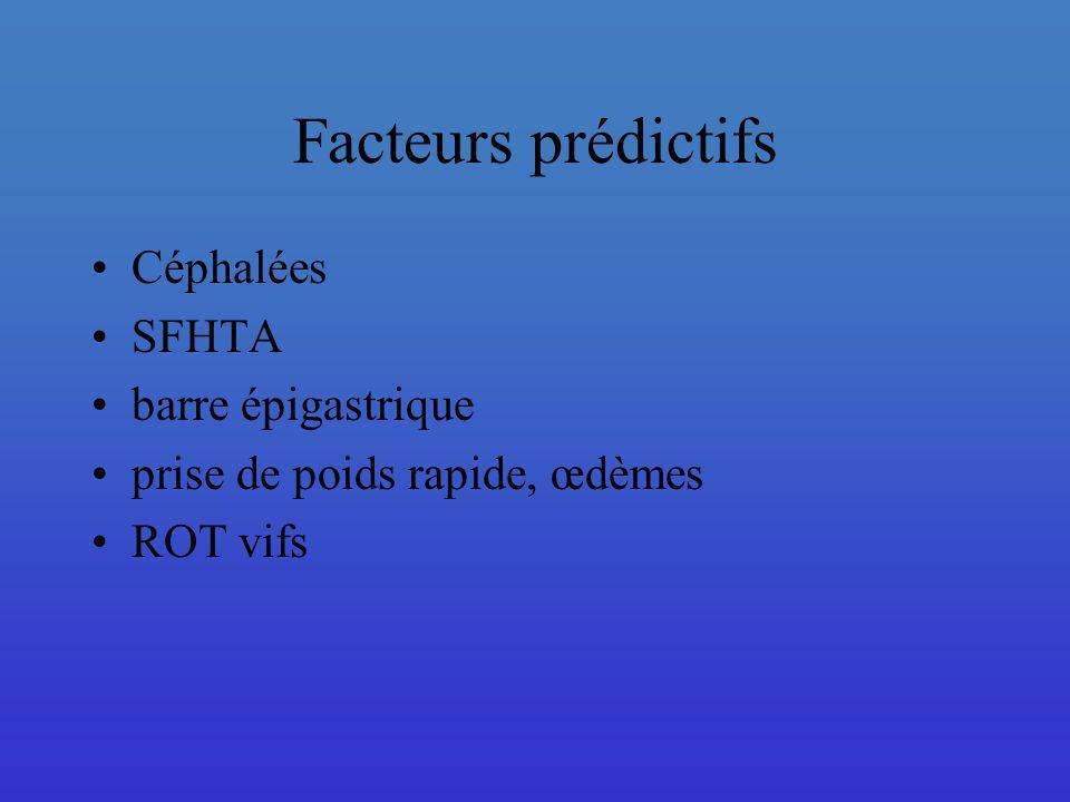Facteurs prédictifs Céphalées SFHTA barre épigastrique prise de poids rapide, œdèmes ROT vifs