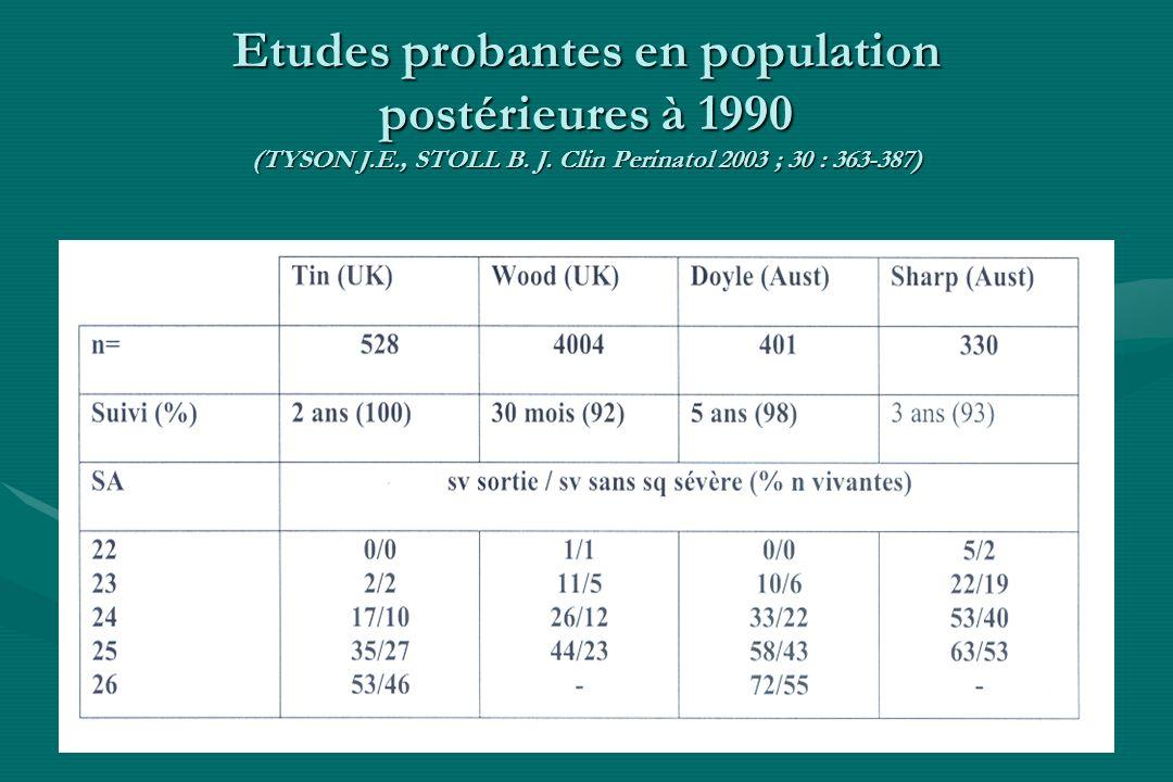 Etudes probantes en population postérieures à 1990 (TYSON J.E., STOLL B. J. Clin Perinatol 2003 ; 30 : 363-387)