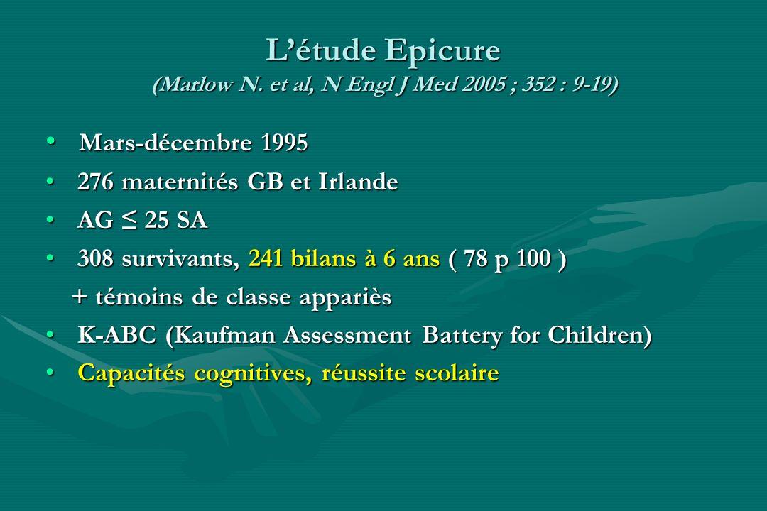 Létude Epicure (Marlow N. et al, N Engl J Med 2005 ; 352 : 9-19) Mars-décembre 1995 Mars-décembre 1995 276 maternités GB et Irlande 276 maternités GB