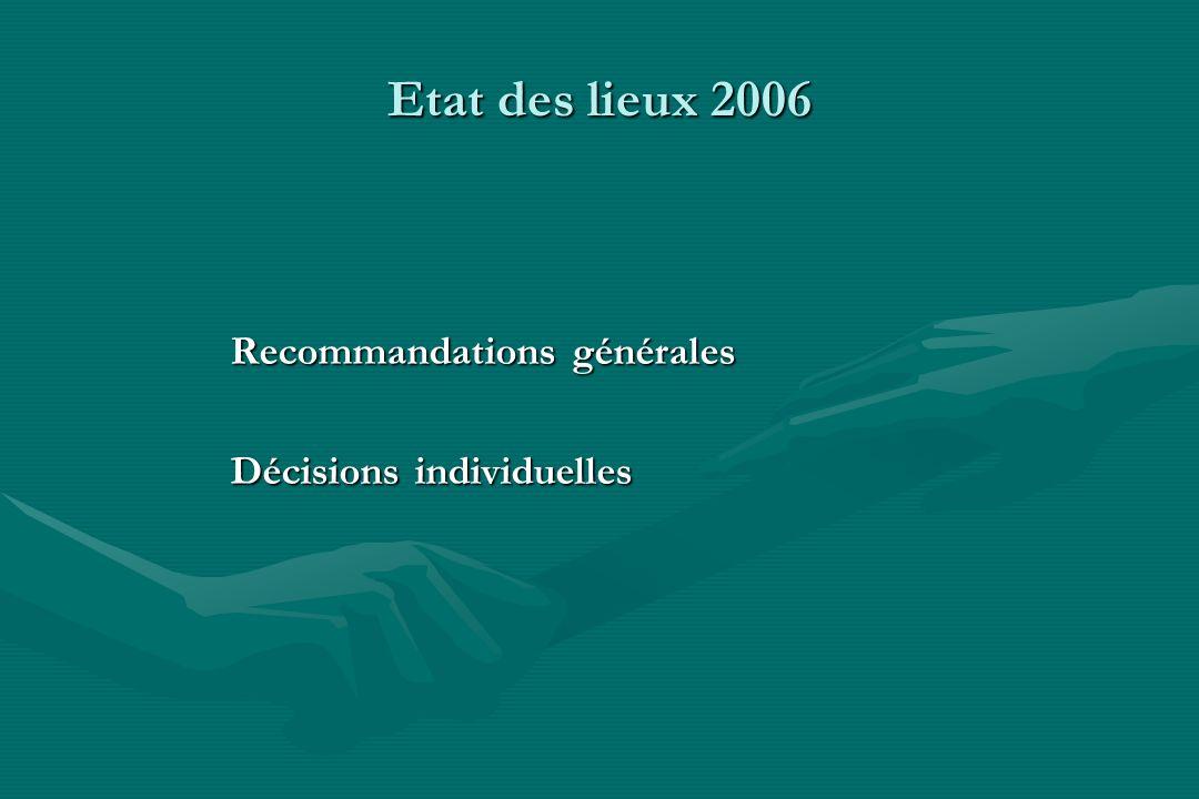 Etat des lieux 2006 Recommandations générales Décisions individuelles