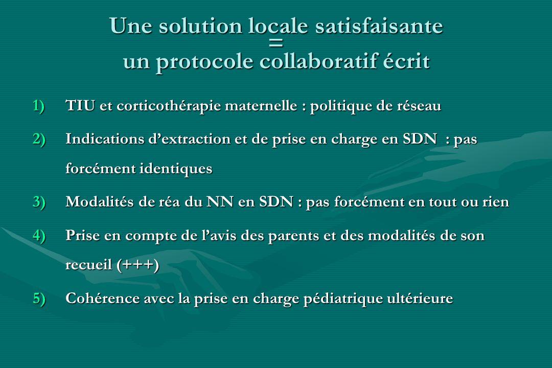 Une solution locale satisfaisante = un protocole collaboratif écrit 1)TIU et corticothérapie maternelle : politique de réseau 2)Indications dextractio