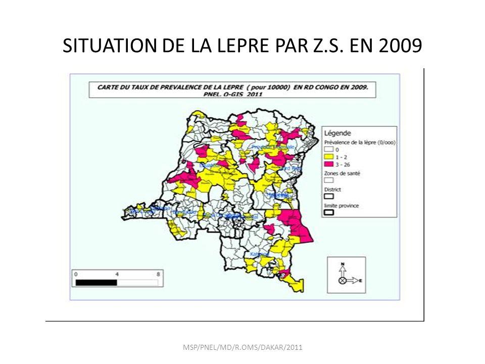 SITUATION DE LA LEPRE PAR Z.S. EN 2009 MSP/PNEL/MD/R.OMS/DAKAR/2011