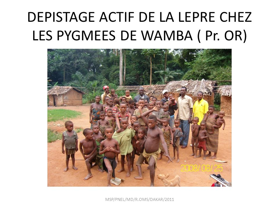 DEPISTAGE ACTIF DE LA LEPRE CHEZ LES PYGMEES DE WAMBA ( Pr. OR) MSP/PNEL/MD/R.OMS/DAKAR/2011