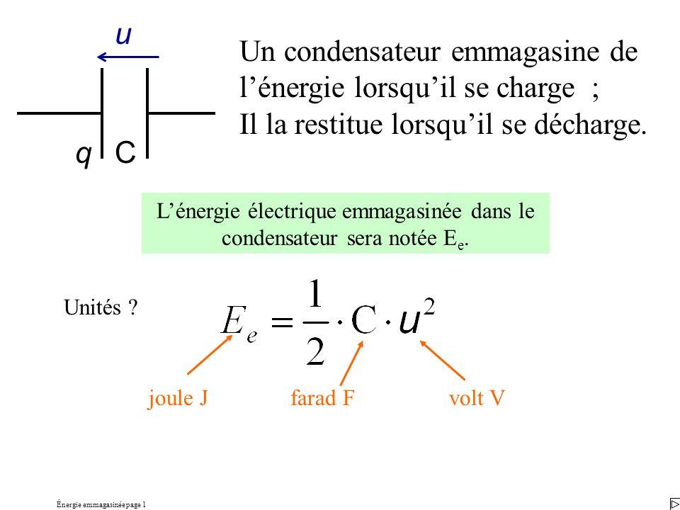 Énergie emmagasinée page 1 Un condensateur emmagasine de lénergie lorsquil se charge ; Il la restitue lorsquil se décharge. Lénergie électrique emmaga