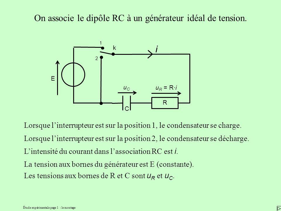 Étude expérimentale page 1 : le montage k 1 2 On associe le dipôle RC à un générateur idéal de tension. i uCuC u R = R·i R E Lorsque linterrupteur est