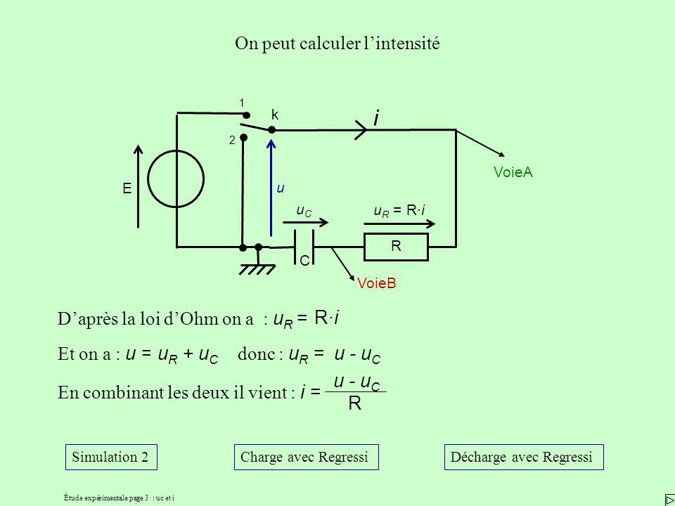 Étude expérimentale page 3 : uc et i On peut calculer lintensité Daprès la loi dOhm on a : u R = Et on a : u = En combinant les deux il vient : i = R·i u R + u C donc : u R =u - u C R u VoieB VoieA k 1 2 i uCuC u R = R·i R E C Simulation 2Charge avec RegressiDécharge avec Regressi