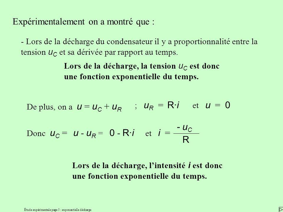 Étude expérimentale page 5 : exponentielle décharge Expérimentalement on a montré que : - Lors de la décharge du condensateur il y a proportionnalité entre la tension u C et sa dérivée par rapport au temps.