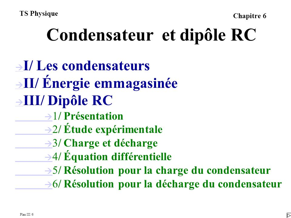 Plan III /6 TS Physique Chapitre 6 Condensateur et dipôle RC I/ Les condensateurs II/ Énergie emmagasinée III/ Dipôle RC 1/ Présentation 2/ Étude expérimentale 3/ Charge et décharge 4/ Équation différentielle 5/ Résolution pour la charge du condensateur 6/ Résolution pour la décharge du condensateur