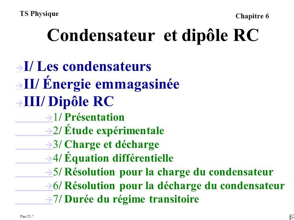 Plan III /7 TS Physique Chapitre 6 Condensateur et dipôle RC I/ Les condensateurs II/ Énergie emmagasinée III/ Dipôle RC 1/ Présentation 2/ Étude expérimentale 3/ Charge et décharge 4/ Équation différentielle 5/ Résolution pour la charge du condensateur 6/ Résolution pour la décharge du condensateur 7/ Durée du régime transitoire
