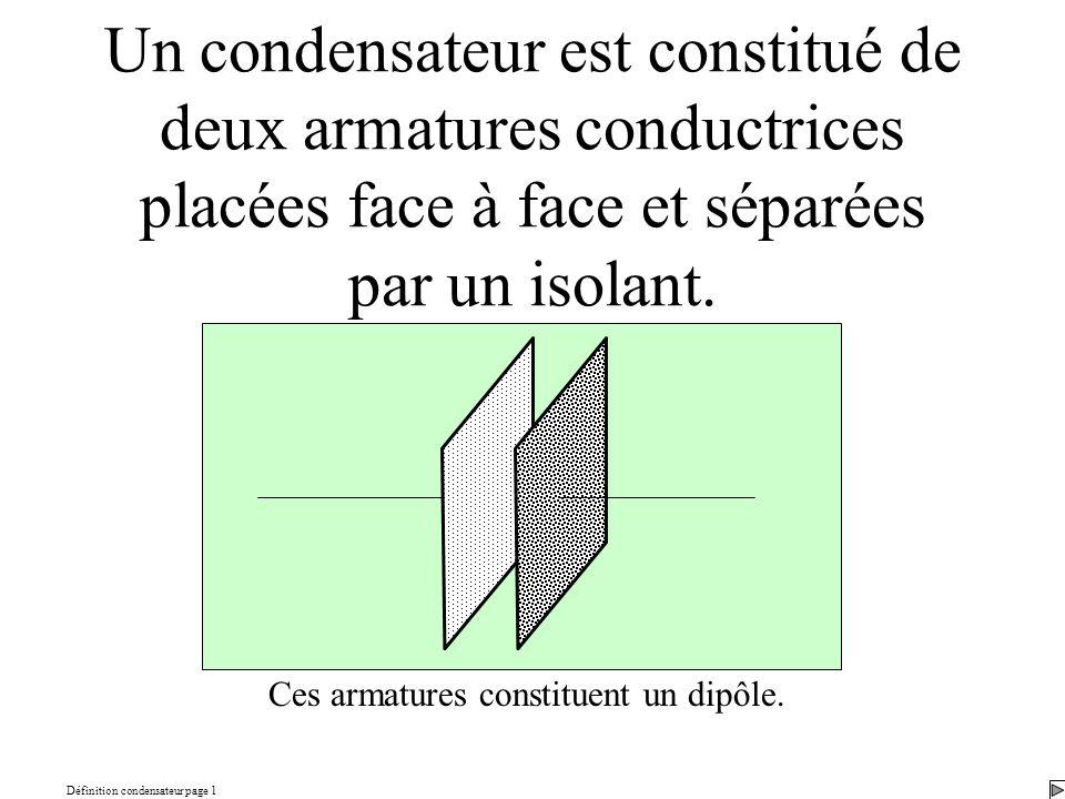 Définition condensateur page 1 Un condensateur est constitué de deux armatures conductrices placées face à face et séparées par un isolant. Ces armatu