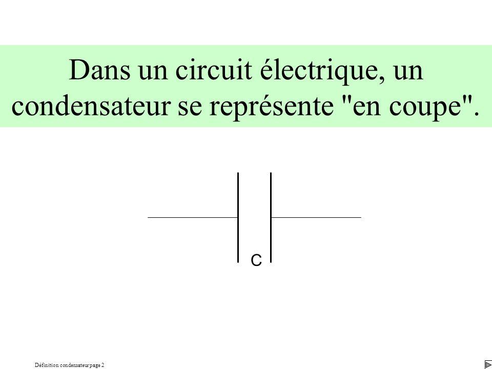 Définition condensateur page 2 Dans un circuit électrique, un condensateur se représente en coupe .