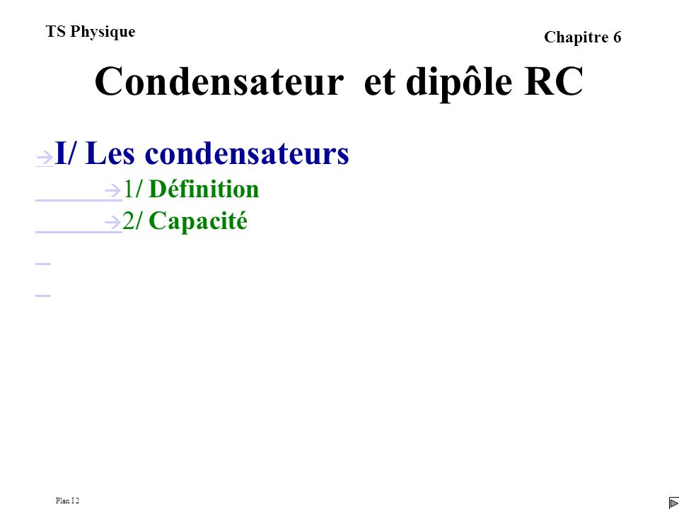 Condensateur et dipôle RC I/ Les condensateurs 1/ Définition 2/ Capacité 3/ Relation entre charge et intensité 4/ Relation entre tension et intensité Plan I 2 TS Physique Chapitre 6