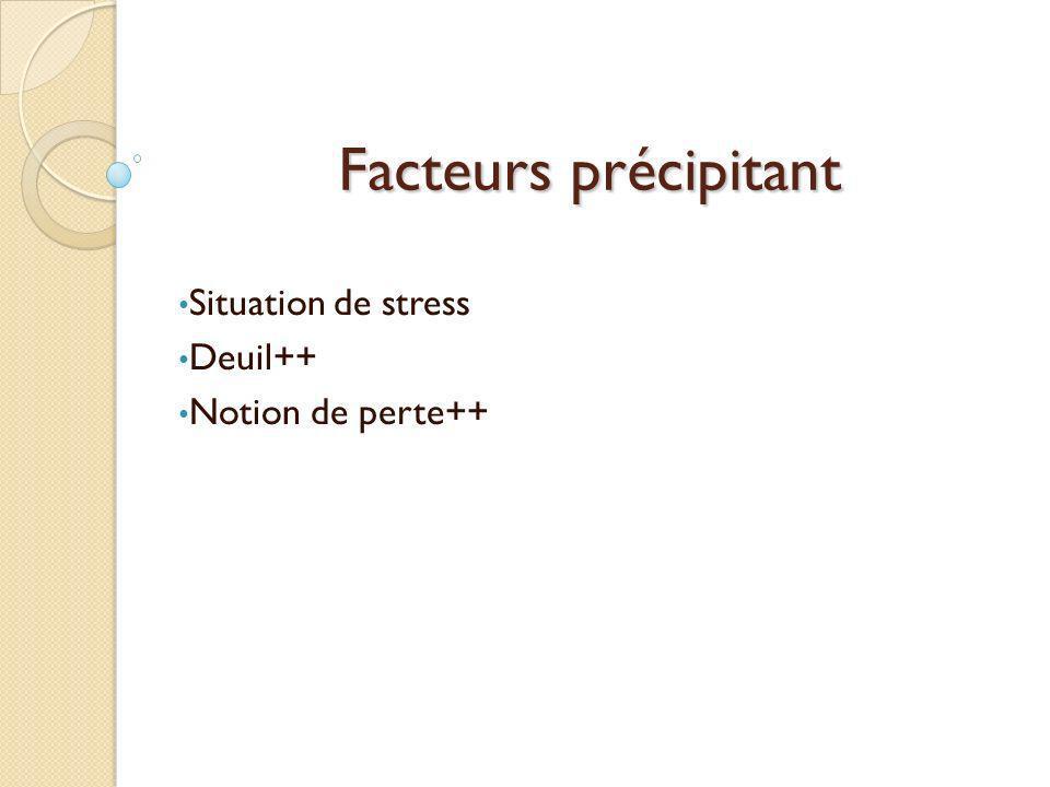 Facteurs précipitant Situation de stress Deuil++ Notion de perte++