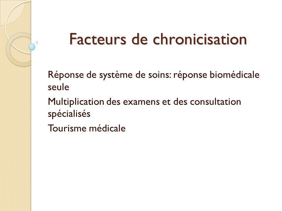 Facteurs de chronicisation Réponse de système de soins: réponse biomédicale seule Multiplication des examens et des consultation spécialisés Tourisme
