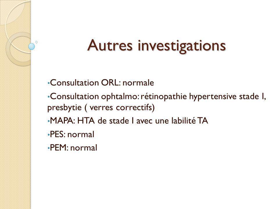 Autres investigations Consultation ORL: normale Consultation ophtalmo: rétinopathie hypertensive stade I, presbytie ( verres correctifs) MAPA: HTA de