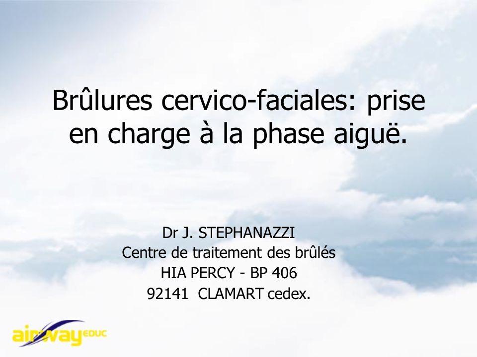 Brûlures cervico-faciales: prise en charge à la phase aiguë. Dr J. STEPHANAZZI Centre de traitement des brûlés HIA PERCY - BP 406 92141 CLAMART cedex.