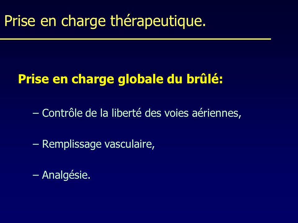 Prise en charge thérapeutique. Prise en charge globale du brûlé: –Contrôle de la liberté des voies aériennes, –Remplissage vasculaire, –Analgésie.