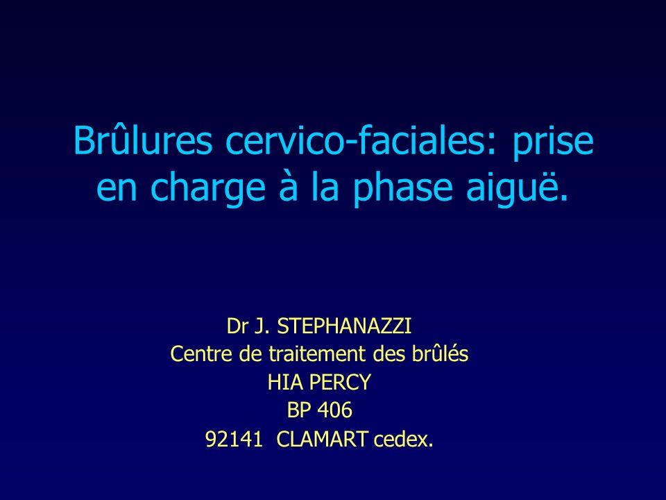 Brûlures cervico-faciales: prise en charge à la phase aiguë. Dr J. STEPHANAZZI Centre de traitement des brûlés HIA PERCY BP 406 92141 CLAMART cedex.