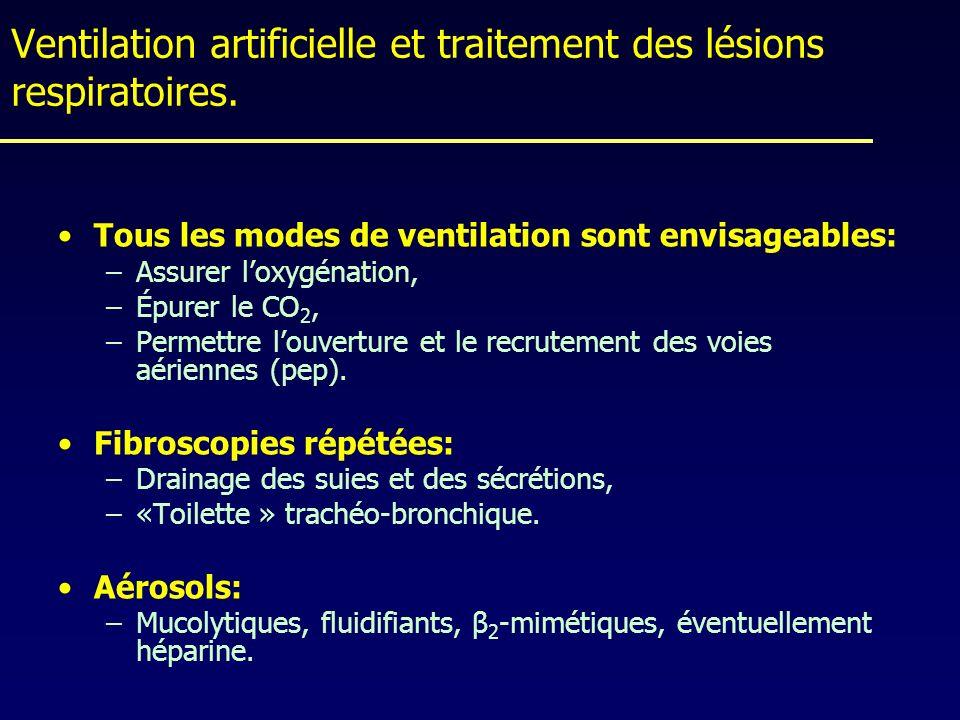 Ventilation artificielle et traitement des lésions respiratoires. Tous les modes de ventilation sont envisageables: –Assurer loxygénation, –Épurer le