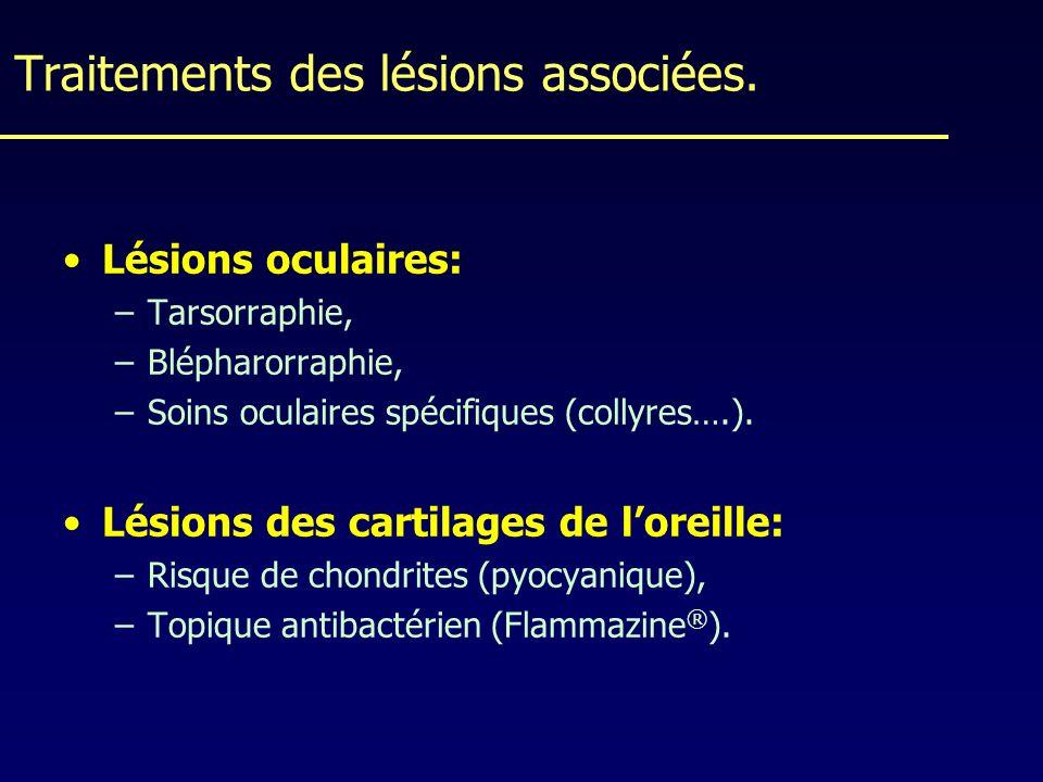 Traitements des lésions associées. Lésions oculaires: –Tarsorraphie, –Blépharorraphie, –Soins oculaires spécifiques (collyres….). Lésions des cartilag
