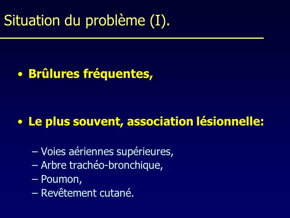 Situation du problème (I). Brûlures fréquentes, Le plus souvent, association lésionnelle: –Voies aériennes supérieures, –Arbre trachéo-bronchique, –Po