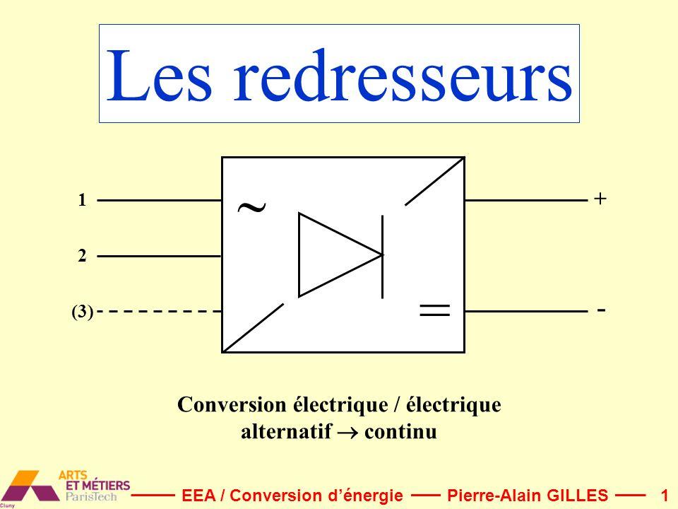 1 Les redresseurs = 1 2 (3) + - Pierre-Alain GILLESEEA / Conversion dénergie Conversion électrique / électrique alternatif continu