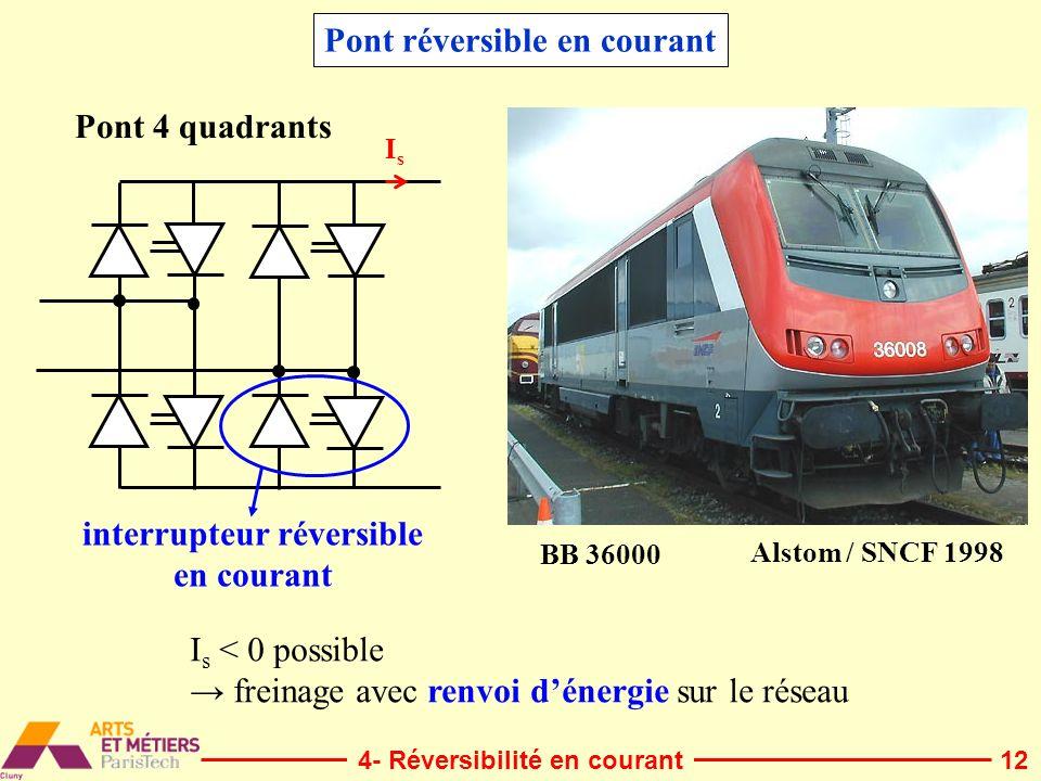 12 IsIs BB 36000 Alstom / SNCF 1998 Pont 4 quadrants Pont réversible en courant interrupteur réversible en courant I s < 0 possible freinage avec renv