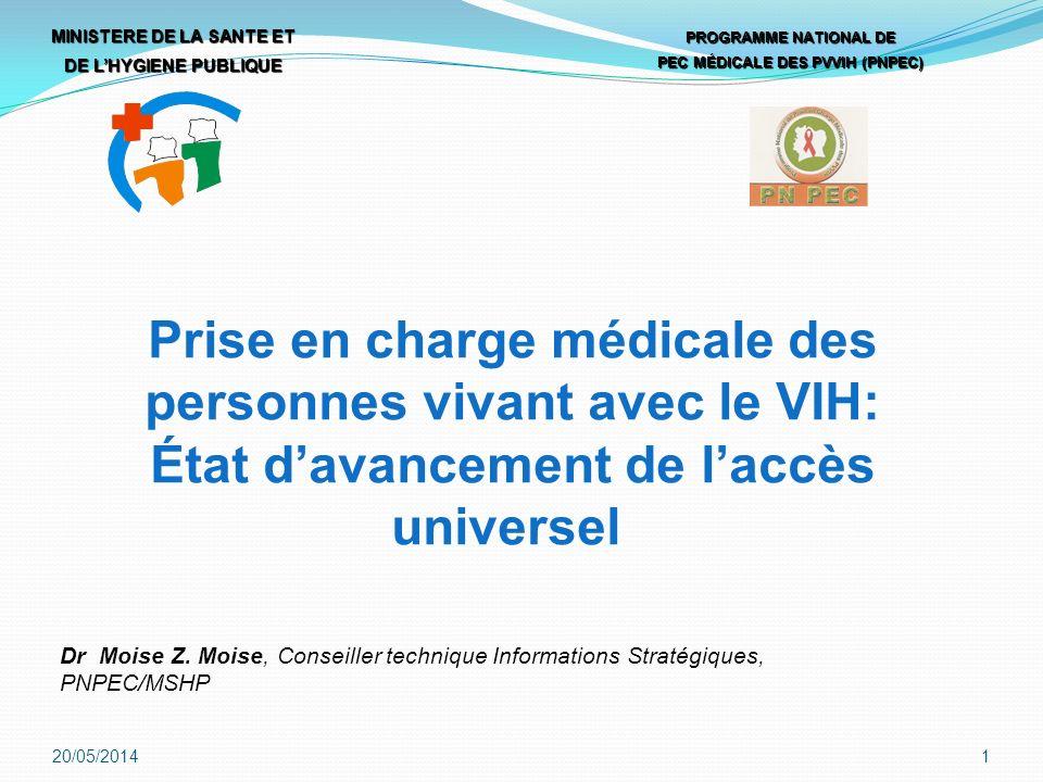 Prise en charge médicale des personnes vivant avec le VIH: État davancement de laccès universel MINISTERE DE LA SANTE ET DE LHYGIENE PUBLIQUE PROGRAMME NATIONAL DE PEC MÉDICALE DES PVVIH (PNPEC) 20/05/20141 Dr Moise Z.