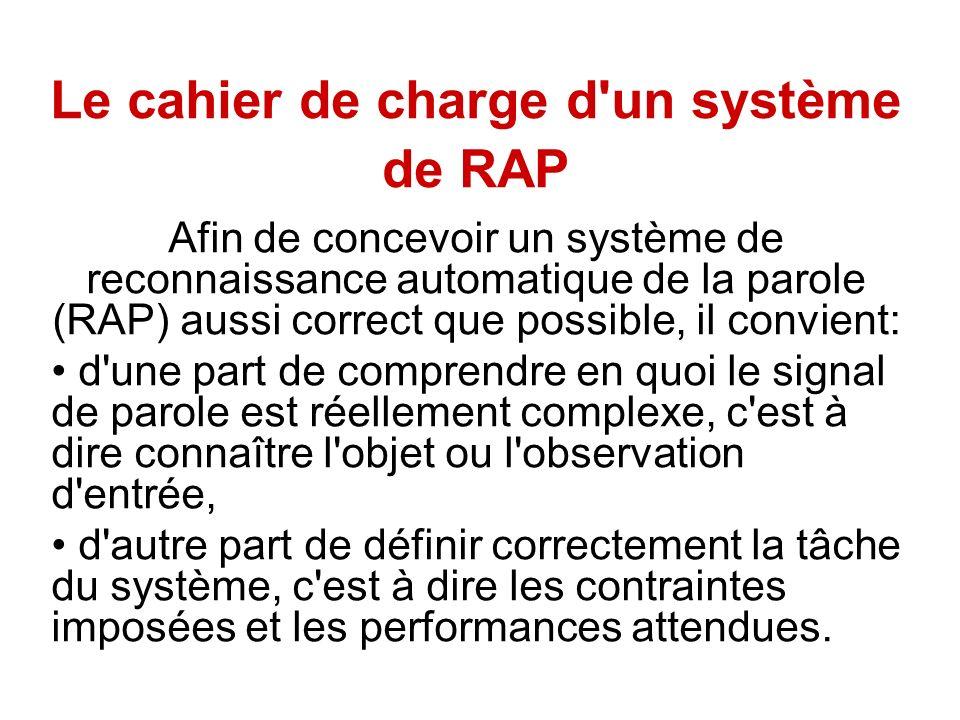 Le cahier de charge d'un système de RAP Afin de concevoir un système de reconnaissance automatique de la parole (RAP) aussi correct que possible, il c