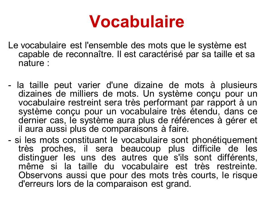 Vocabulaire Le vocabulaire est l'ensemble des mots que le système est capable de reconnaître. Il est caractérisé par sa taille et sa nature : - la tai