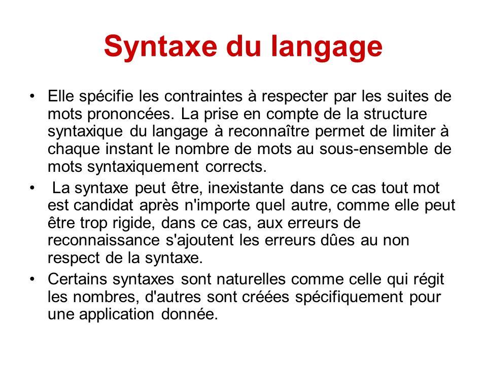Syntaxe du langage Elle spécifie les contraintes à respecter par les suites de mots prononcées. La prise en compte de la structure syntaxique du langa