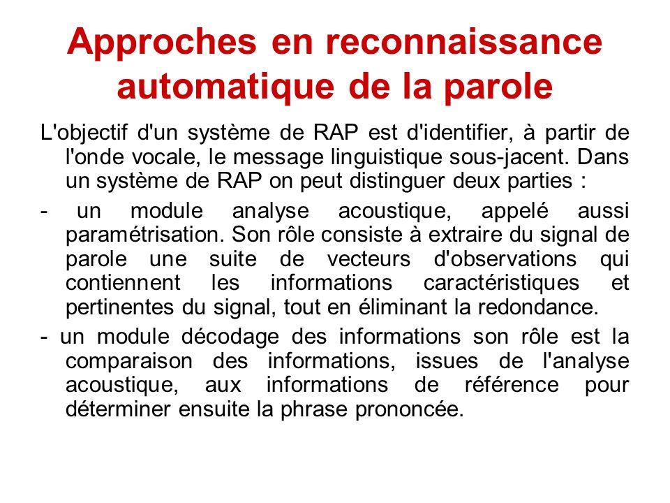Approches en reconnaissance automatique de la parole L'objectif d'un système de RAP est d'identifier, à partir de l'onde vocale, le message linguistiq