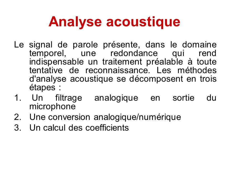 Analyse acoustique Le signal de parole présente, dans le domaine temporel, une redondance qui rend indispensable un traitement préalable à toute tenta