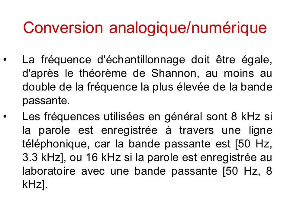 Conversion analogique/numérique La fréquence d'échantillonnage doit être égale, d'après le théorème de Shannon, au moins au double de la fréquence la
