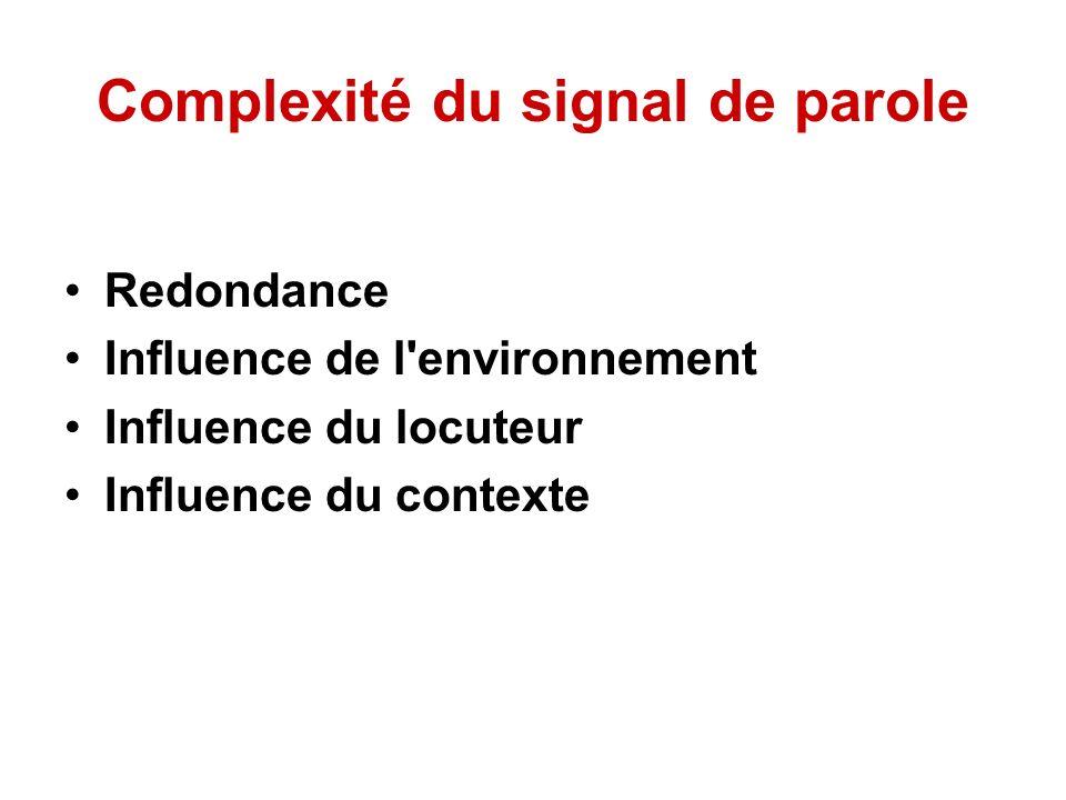 Redondance Le signal acoustique est très redondant, il faut donc un traitement préalable, avant toute tentative de reconnaissance, pour extraire l information pertinente sans la dégrader.