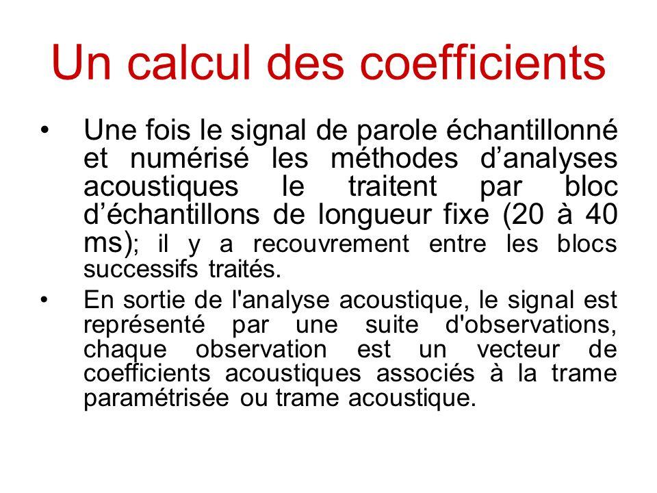 Un calcul des coefficients Une fois le signal de parole échantillonné et numérisé les méthodes danalyses acoustiques le traitent par bloc déchantillon