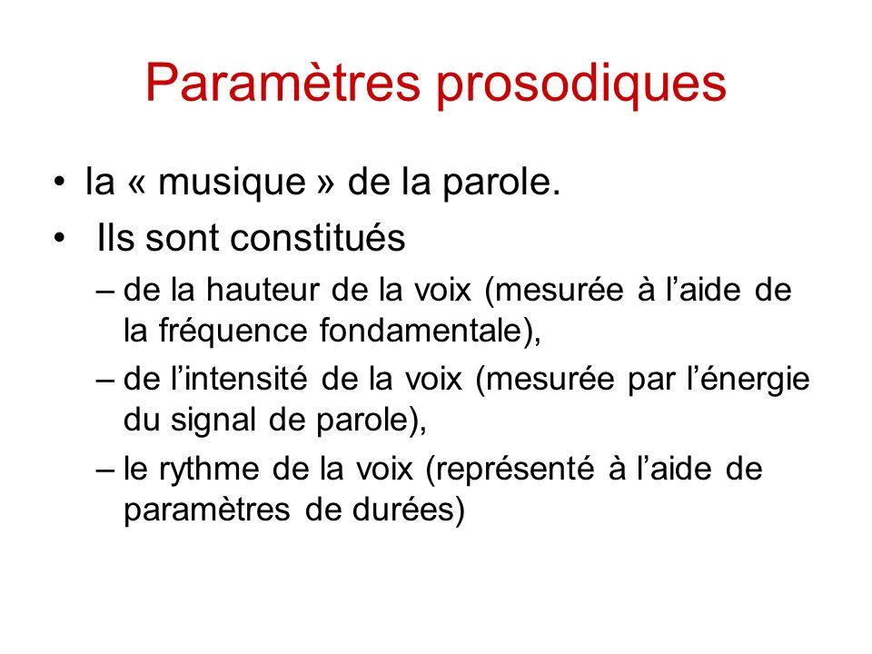 Paramètres prosodiques la « musique » de la parole. Ils sont constitués –de la hauteur de la voix (mesurée à laide de la fréquence fondamentale), –de