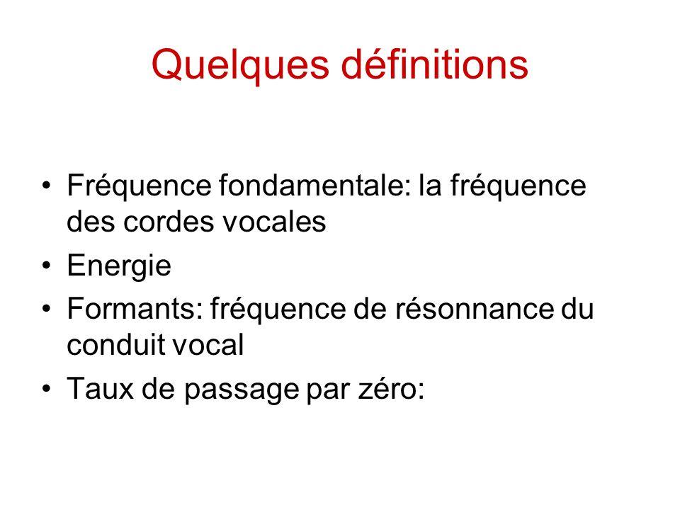 Quelques définitions Fréquence fondamentale: la fréquence des cordes vocales Energie Formants: fréquence de résonnance du conduit vocal Taux de passag