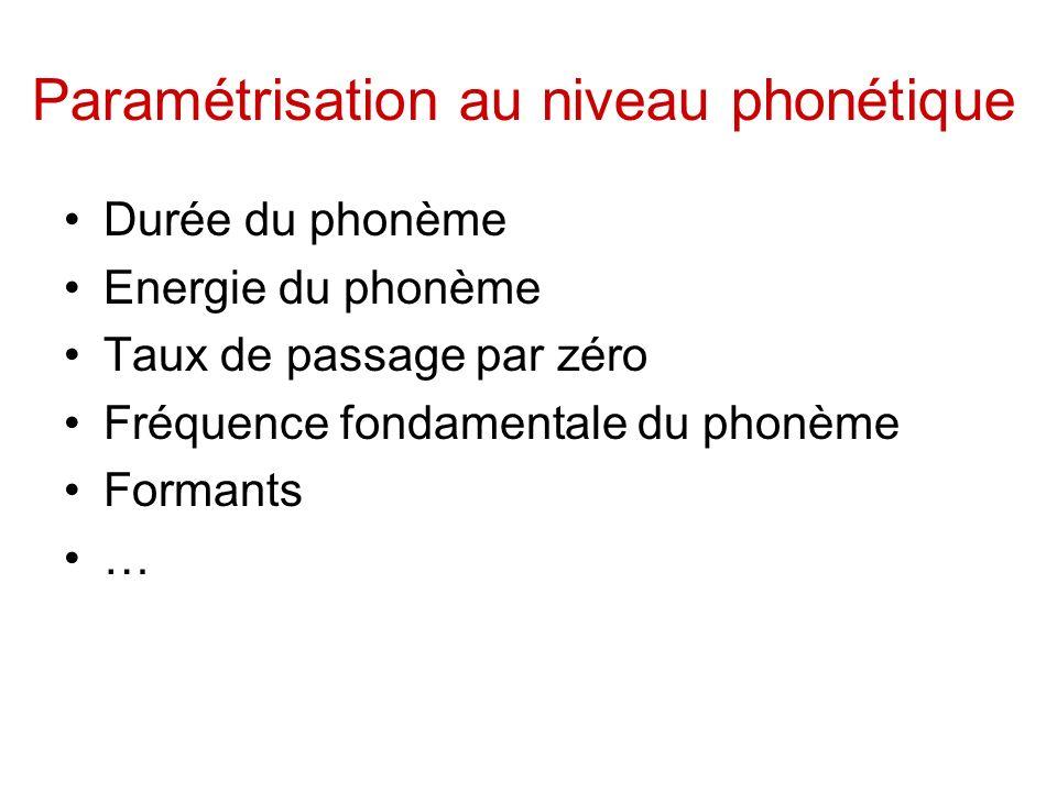 Paramétrisation au niveau phonétique Durée du phonème Energie du phonème Taux de passage par zéro Fréquence fondamentale du phonème Formants …