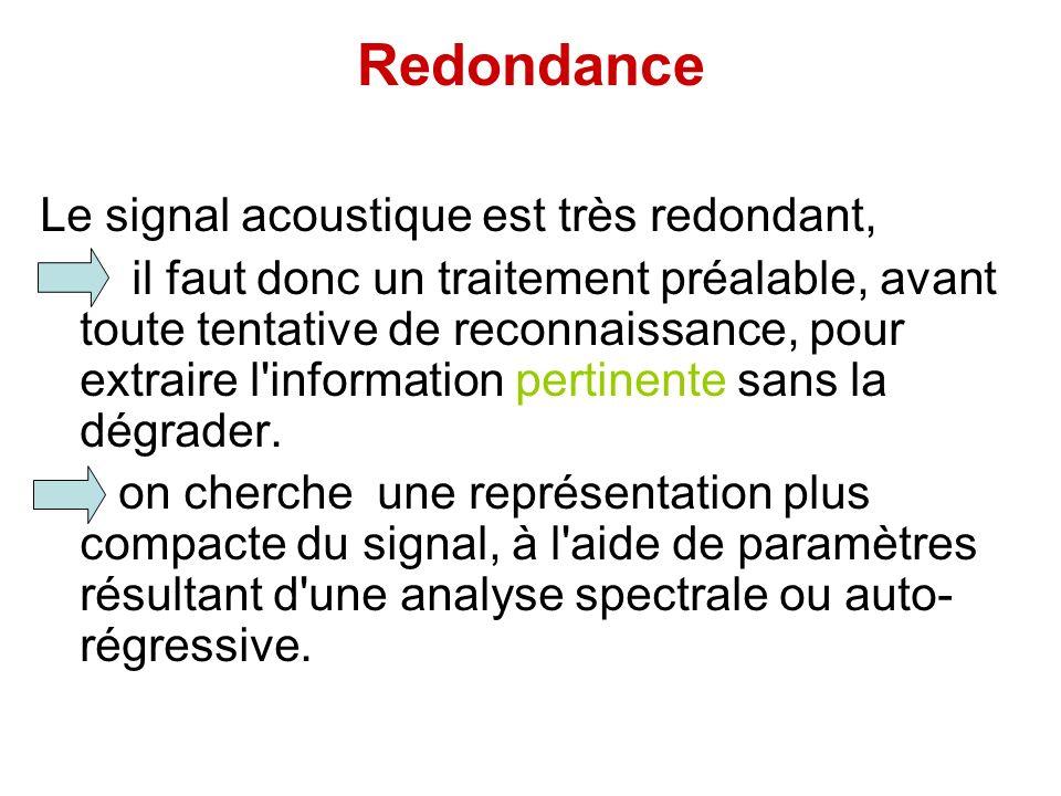 Redondance Le signal acoustique est très redondant, il faut donc un traitement préalable, avant toute tentative de reconnaissance, pour extraire l'inf