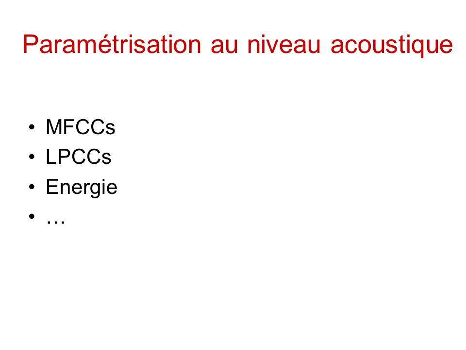 Paramétrisation au niveau acoustique MFCCs LPCCs Energie …