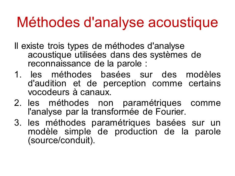 Méthodes d'analyse acoustique Il existe trois types de méthodes d'analyse acoustique utilisées dans des systèmes de reconnaissance de la parole : 1. l