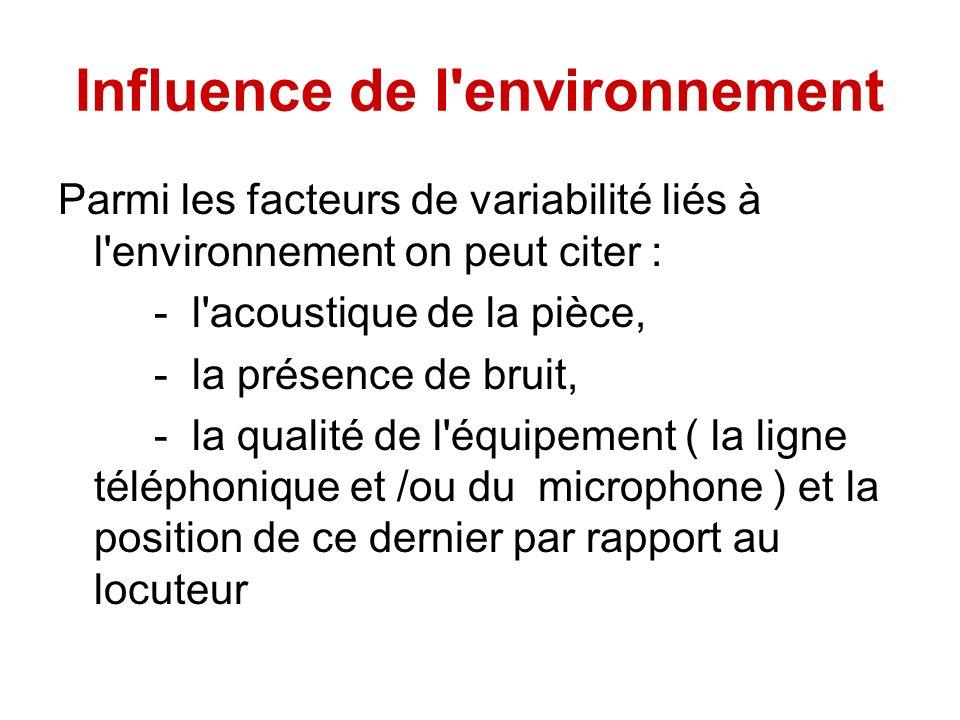 Influence de l'environnement Parmi les facteurs de variabilité liés à l'environnement on peut citer : - l'acoustique de la pièce, - la présence de bru