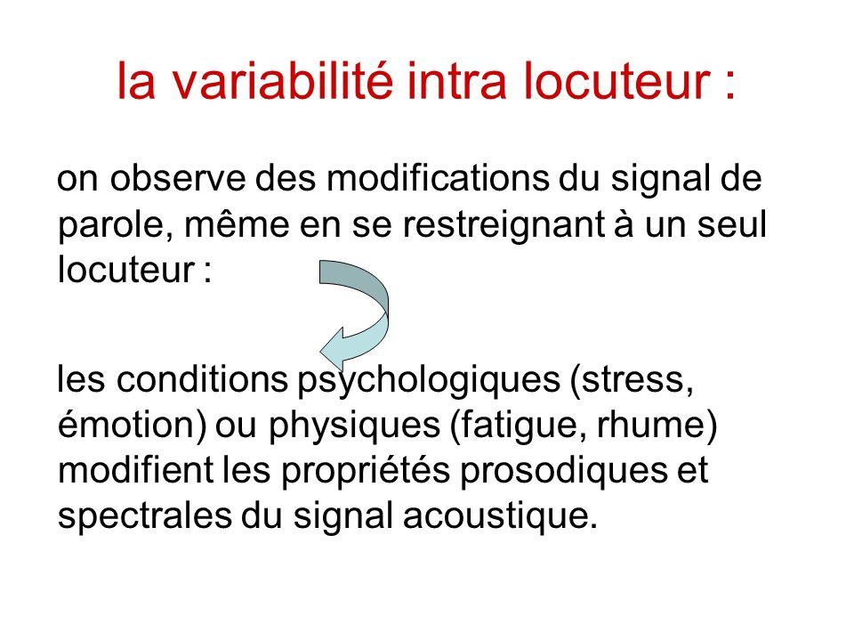 la variabilité intra locuteur : on observe des modifications du signal de parole, même en se restreignant à un seul locuteur : les conditions psycholo