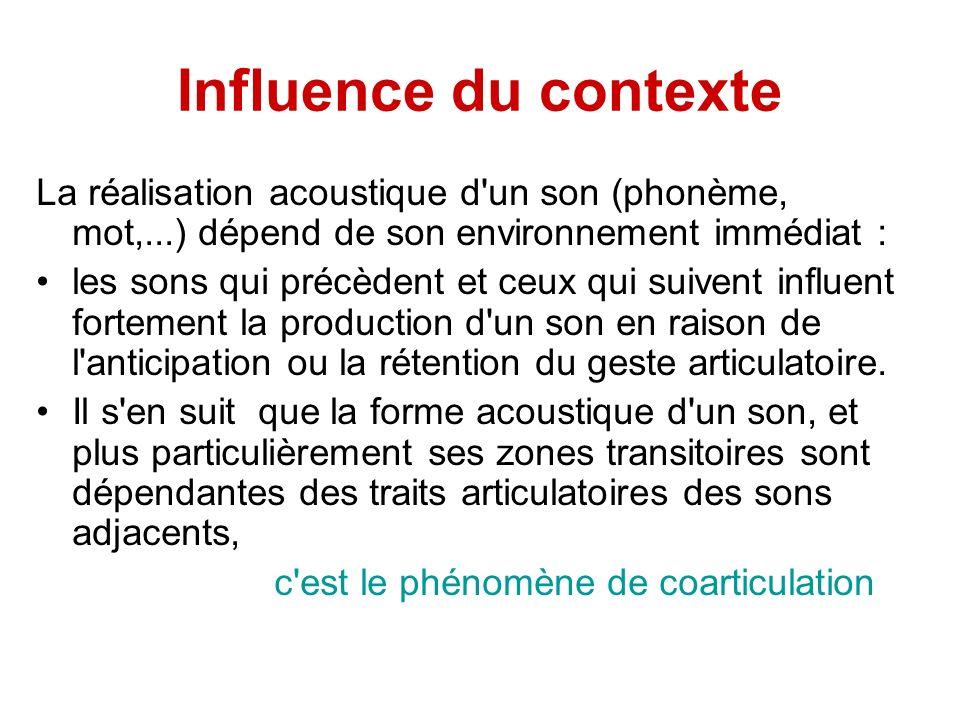 Influence du contexte La réalisation acoustique d'un son (phonème, mot,...) dépend de son environnement immédiat : les sons qui précèdent et ceux qui