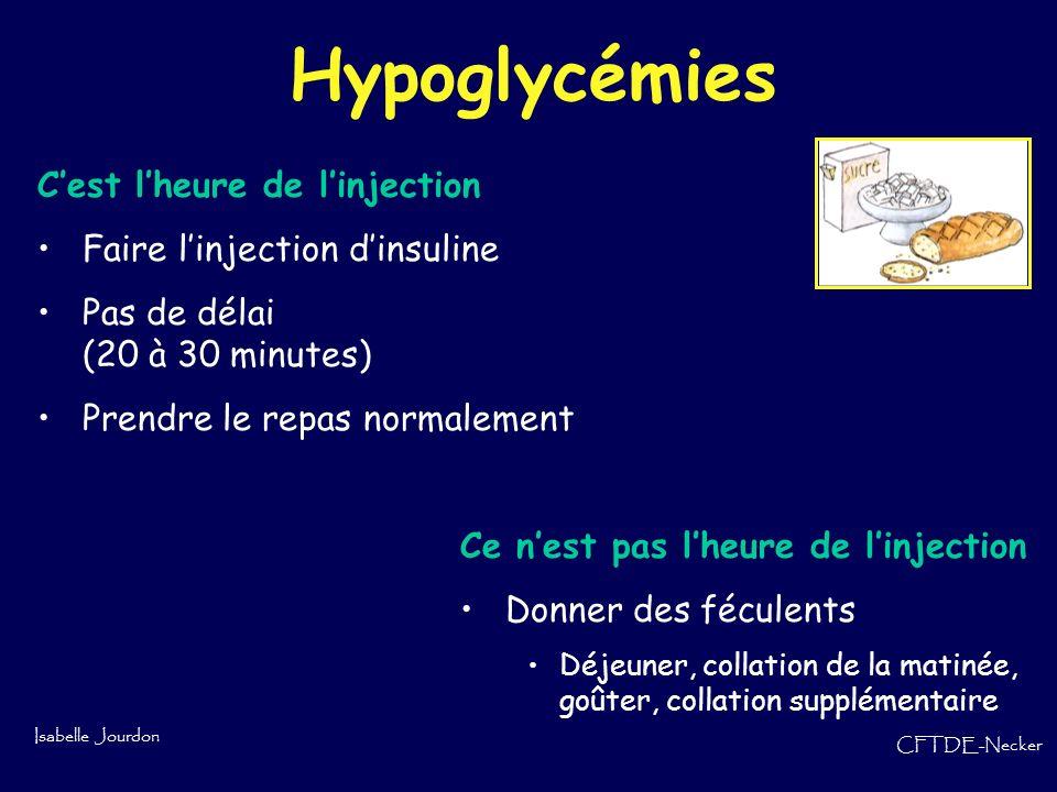 Isabelle Jourdon CFTDE-Necker Hypoglycémies Cest lheure de linjection Faire linjection dinsuline Pas de délai (20 à 30 minutes) Prendre le repas norma
