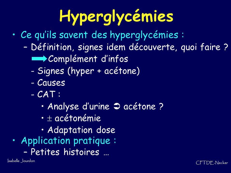 Isabelle Jourdon CFTDE-Necker Hyperglycémies Ce quils savent des hyperglycémies : –Définition, signes idem découverte, quoi faire ? Complément dinfos